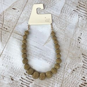 NWT A New Day Seed Bead ball necklace gold